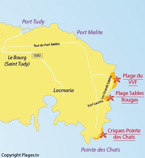 Map of Sables Rouges Beach - Island of Groix