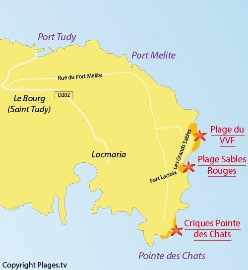 Carte de la plage des Sables Rouges sur l'ile de Groix
