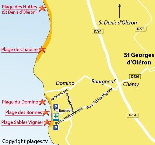 Mappa della Spiaggia Les Sables Vignier sull'isola d'Oléron