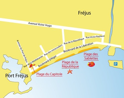 Map of Sablettes Beach in Fréjus