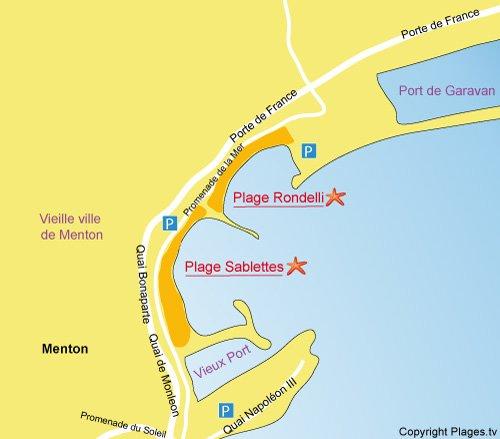 Carte des plages des Sablettes à Menton