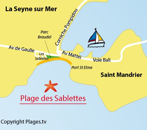Map of Sablettes Beach in La Seyne sur Mer
