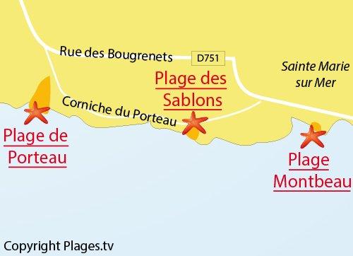 Carte de la plage des Sablons à Pornic