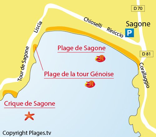 Map of Sagone beach in Corsica