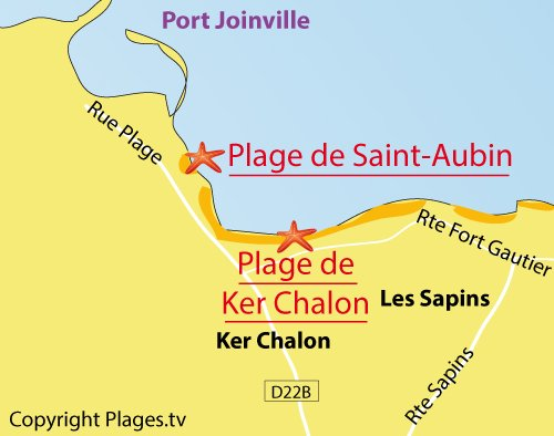 Carte de la plage de St Aubin sur l'ile d'Yeu