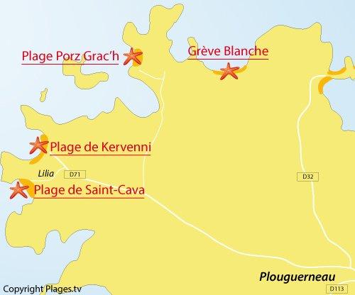 Carte de la plage de St Cava à Plouguerneau