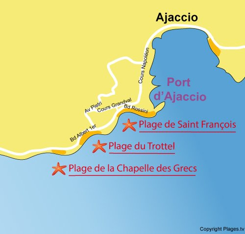 Map of St. Francois Beach in Ajaccio