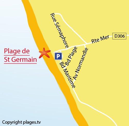 Carte de la plage de Saint Germain sur Ay