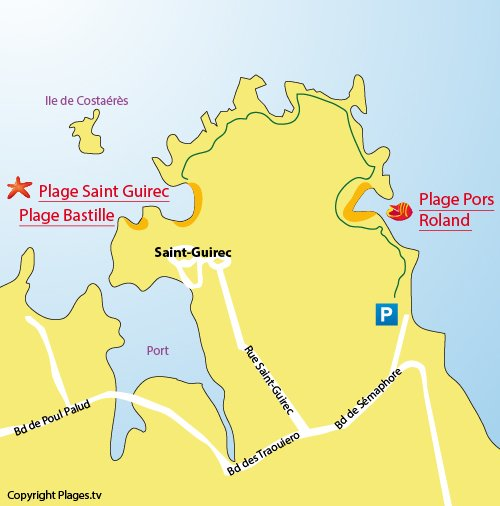 Map of St Guirec beach in Perros Guirec - Ploumanach