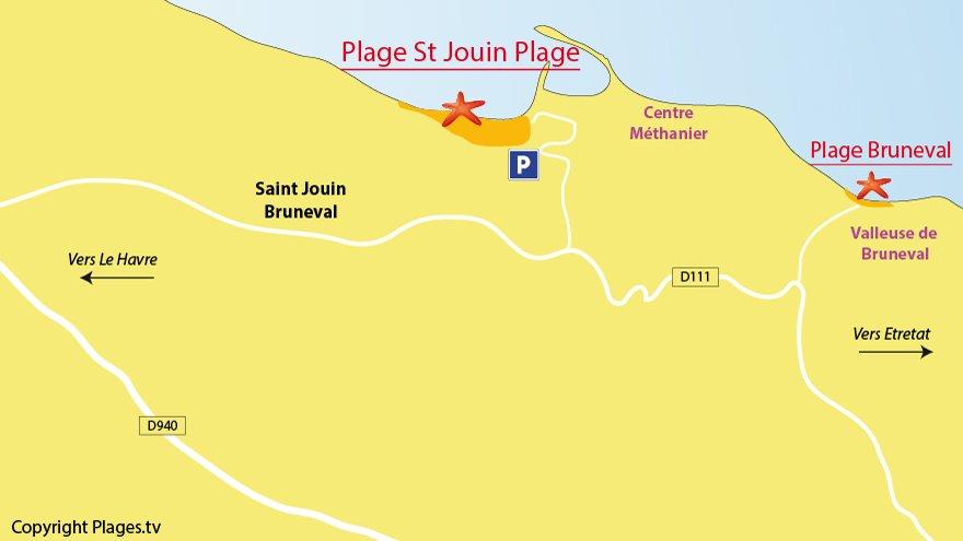 Plan des plages de St Jouin Bruneval en Normandie