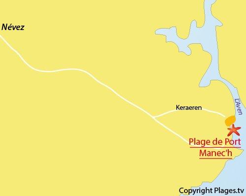 Carte de la plage de St Nicolas à Névez - Port Manec'h