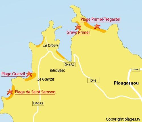 Carte de la plage de Saint Samson à Plougasnou