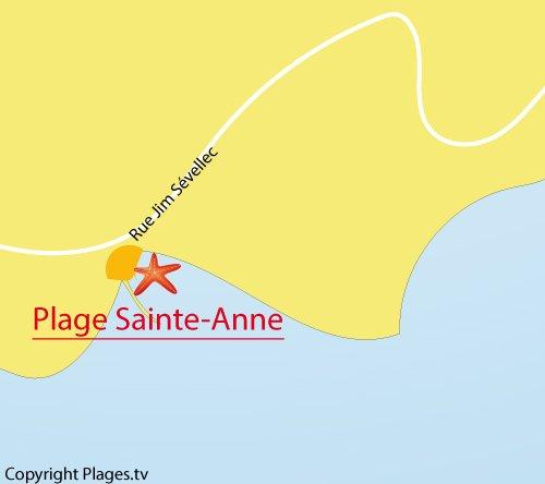 Carte de la plage de Sainte Anne à Brest