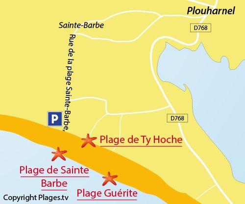 Map of Sainte Barbe Beach in Plouharnel - Brittany