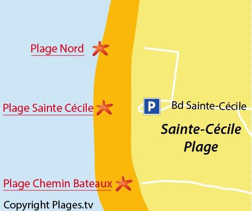 Carte de la plage de Sainte Cécile dans le Nord