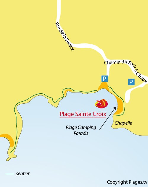 Plan des plages de Sainte Croix à La Couronne