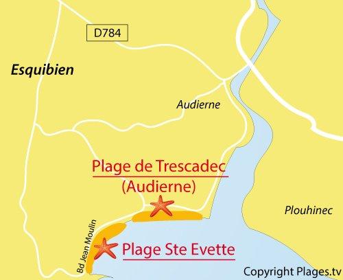 Carte de la plage de Sainte Evette à Esquibien