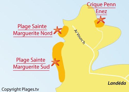 Carte de la plage nord de Sainte Marguerite à Landéda