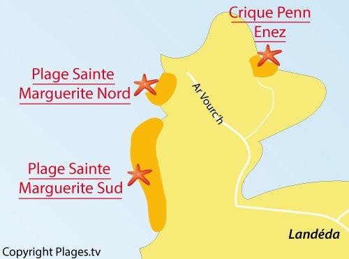Carte de la plage de Sainte Marguerite à Landéda