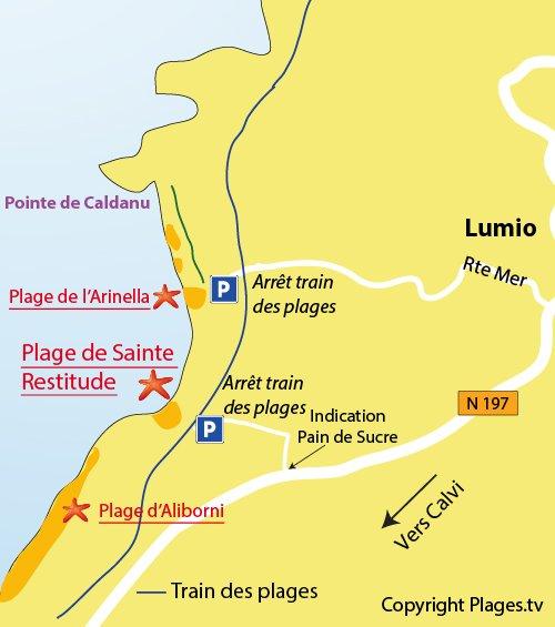 Carte de la plage de Ste Restitude à Lumio