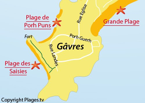 Map of Saisies Beach in Gavres