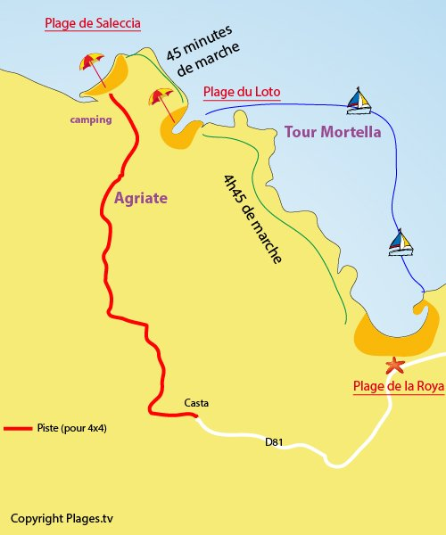 Map of Saleccia Beach in St Florent - Agriate desert