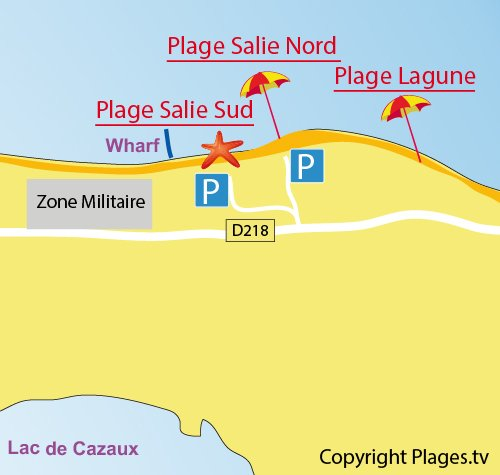 Map of Salie South Beach in Pyla sur Mer