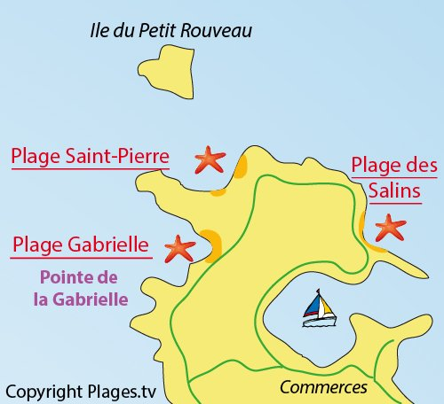 Map of Salins Beach in Ile des Embiez