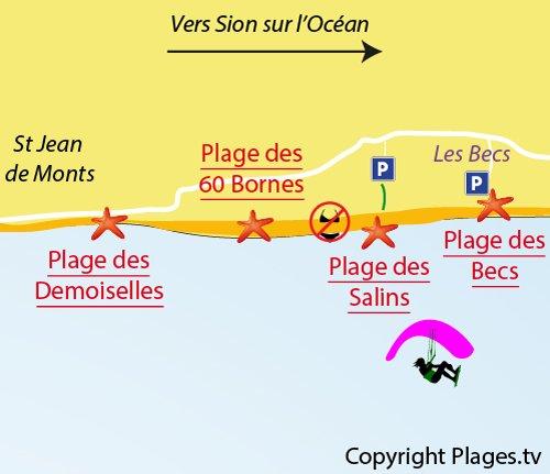 Plan de la plage des Salins à St Hilaire de Riez