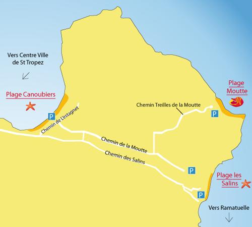 Map of Salins Beach in Saint Tropez