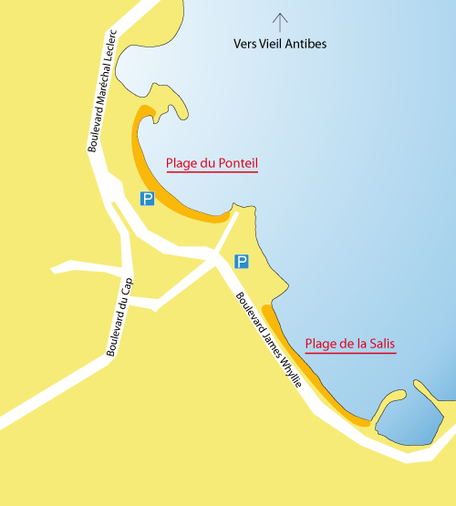 Map of the Salis Beach in Antibes