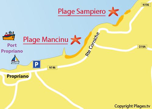 Plan de la plage de Sampiero à Propriano
