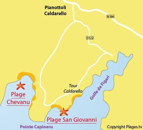 Carte de la plage de San Giovanni dans le golfe de Figari