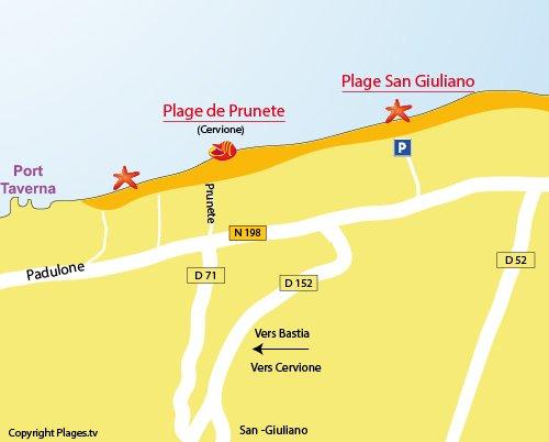 Plan de la plage de San Giuliano en Corse