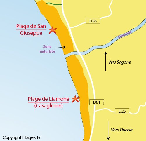 Map of San Giuseppe beach in Sagone