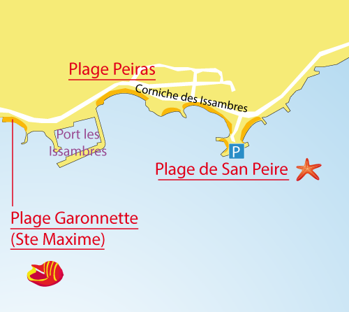 Map of San Peire Beach  in Les Issambres - France