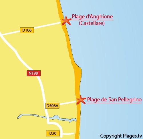 Plan de la plage de San Pellegrino en Corse