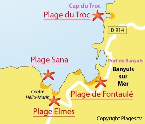 Carte de la plage de Sana à Banyuls sur Mer 66