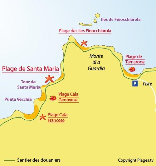 Carte de la plage de Santa Maria à Macinaggio
