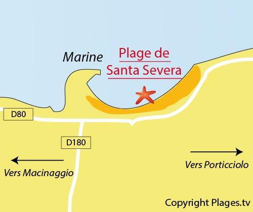 Plan de la plage de Santa Severa dans le Cap Corse