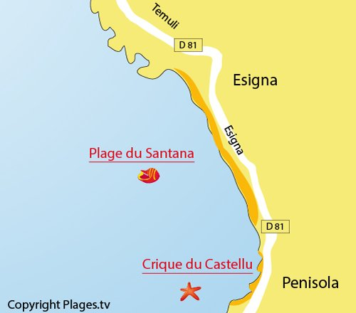 Plan de la plage de Santana à Sagone