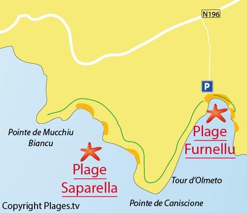 Map of Saparella Beach in Corsica
