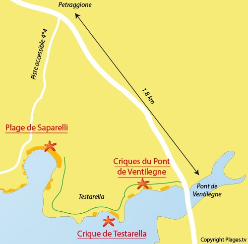 Map of Saparelli Beach in Bonifacio