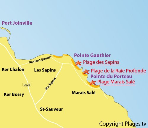 Map of Sapins Beach in Ile d'Yeu