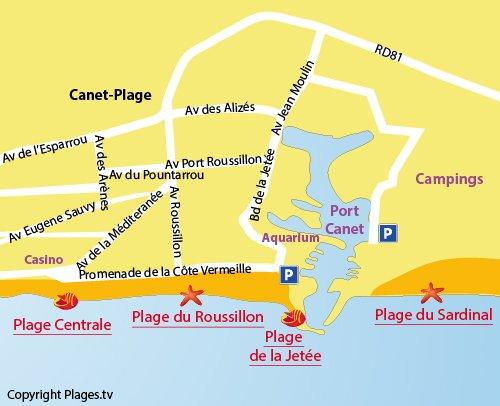 Carte de la plage au Canet en Roussillon (66)