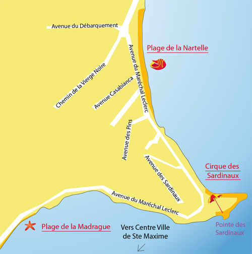 Map of Sardinaux beach in Ste Maxime