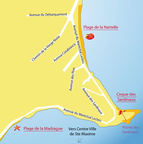 Carte des plages des Sardinaux à Ste Maxime