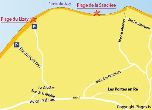 Carte de la plage de la Saucière - Les Portes en Ré
