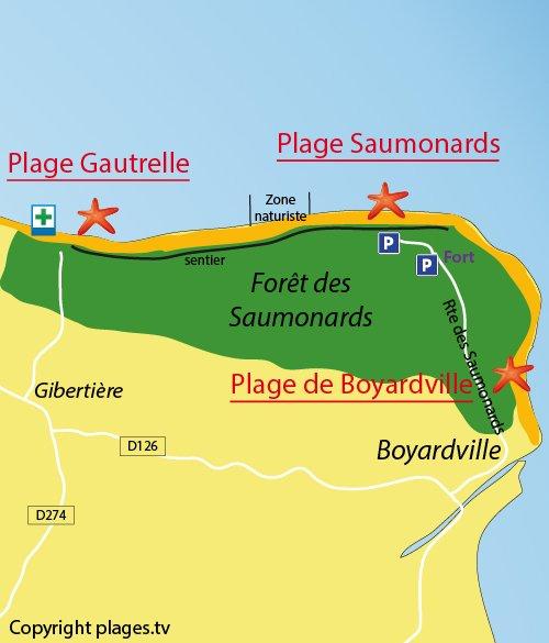 Map of Saumonards Beach in Oléron