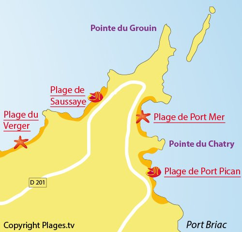 Map of Saussaye Beach in Cancale